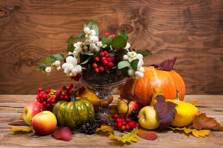 Abundance cornucopia fall table centerpiece with snowberry and rowan berries in glass vase, pumpkins, apples, cones on the rustic wooden background, copy space