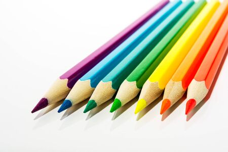 Red, orange, yellow, green, blue, purple kids colored pencils as a symbol of first steps of artist Stock fotó
