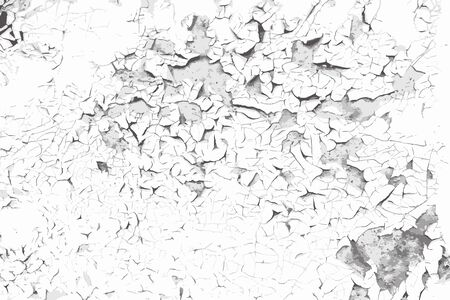 Old cracked paint background. Grunge vector black and white texture template for overlay artwork.