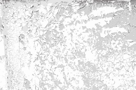 Weathered cracked paint vector black and white texture background. Grunge scratch wall template for overlay artwork.