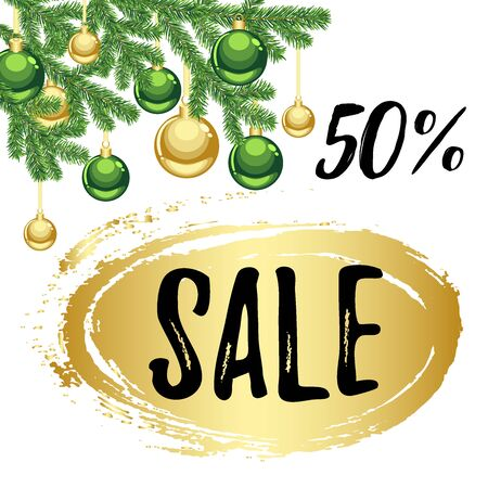 Christmas season sale 50% discount offer banner with golden green ornaments and fir tree branch 向量圖像