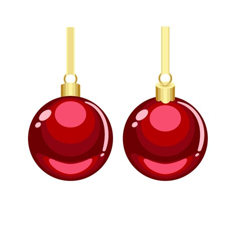 Christmas red cartoon vector ornaments with golden hanging isolated on white background 向量圖像