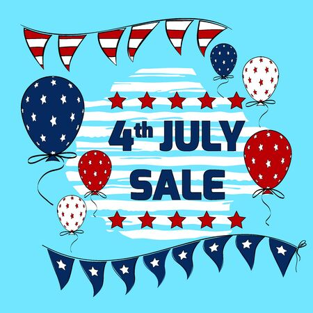 4th July sale banner vector design with patriotic party flags on string. American Independence Day vector elements