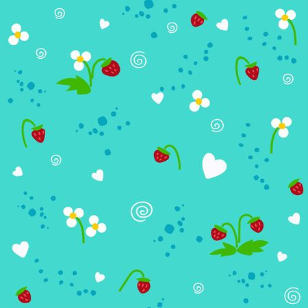 Strawberry and white flowers on the blue turquoise seamless pattern 版權商用圖片 - 136679327