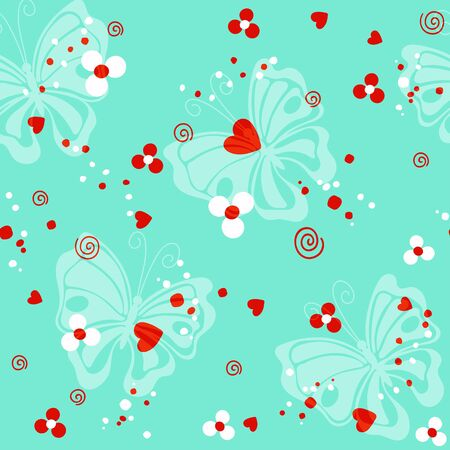 Butterfly and red heart on the turquoise background vector seamless pattern 版權商用圖片 - 136679325