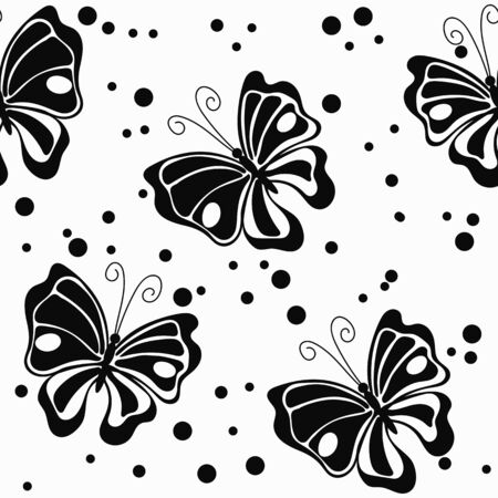 Black butterfly and ink drops on the white background vector seamless pattern