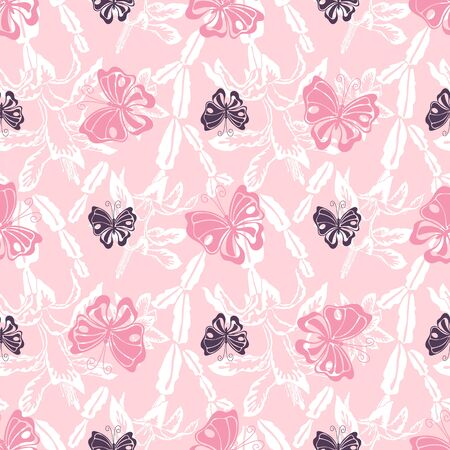 Pink butterfly and white blooming Christmas cactus silhouette vector seamless pattern