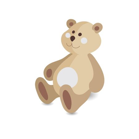 Kids toy cartoon style teddy bear vector icon isolated on the white background