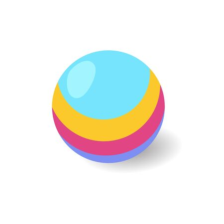 Kids toy cartoon style striped ball vector icon isolated on the white background 版權商用圖片 - 136679372