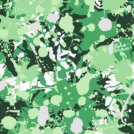 Green, grey, white, pink artistic ink paint splashes camouflage seamless vector pattern 版權商用圖片 - 136679380