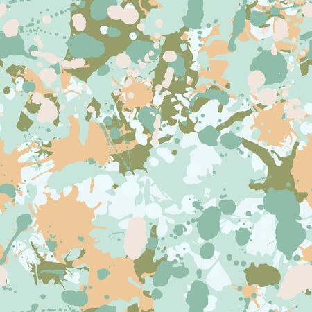 Teal, beige, green, white artistic ink paint splashes camouflage seamless vector pattern