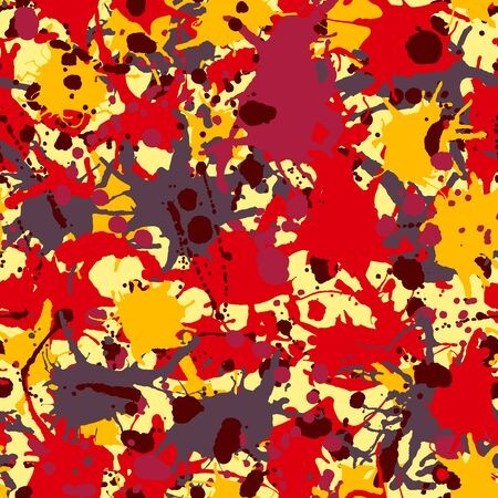Yellow, orange, red, grey, burgundy artistic ink paint splashes camouflage seamless vector pattern 版權商用圖片 - 136679378