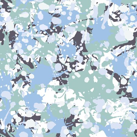 Black, teal, green, blue, white artistic ink paint splashes camouflage seamless vector pattern