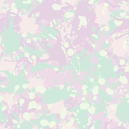 Teal, pink shades, white artistic ink paint splashes camouflage seamless vector pattern