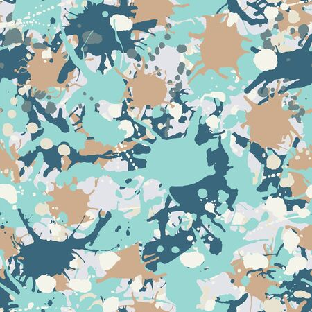 Blue, teal, beige, white artistic ink paint splashes camouflage seamless vector pattern