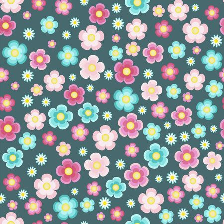 Periwinkle pink turquoise five petal flowers on the azure blue background vector seamless pattern 版權商用圖片 - 136679453