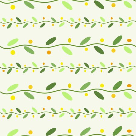 Green stems and yellow berries on the white background vector seamless pattern 向量圖像