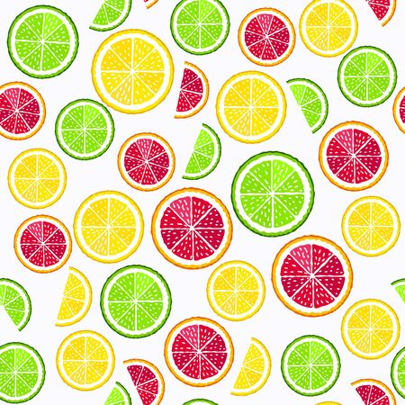 Lemon, lime and blood orange slices on the white background vector seamless pattern