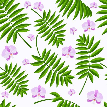 Purple orchid flowers and green palm branch on the white background vector seamless pattern