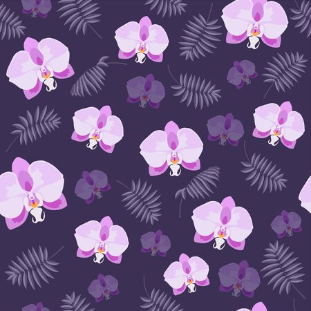 Pink orchid flowers and palm branch on the purple background vector seamless pattern 向量圖像