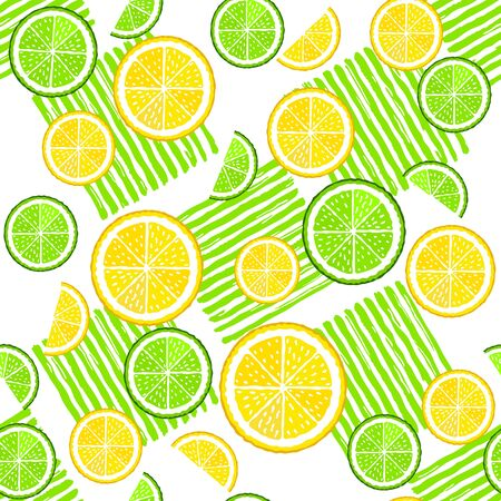 Lemon and lime slices on the white background with green paint stripes vector seamless pattern 版權商用圖片 - 136679461