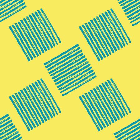 Teal blue paint stripes  on the yellow background vector seamless pattern 版權商用圖片 - 136679463
