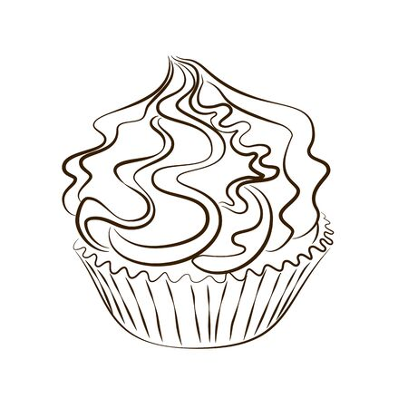 Vector cupcake with whipped cream hand drawn sketch isolated on the white background 版權商用圖片 - 136679462