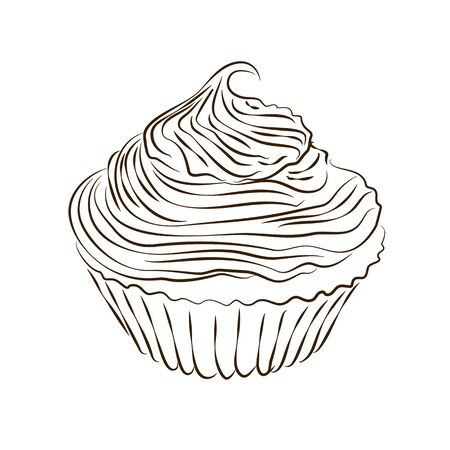 Vector hand drawn muffin sketch isolated on the white background