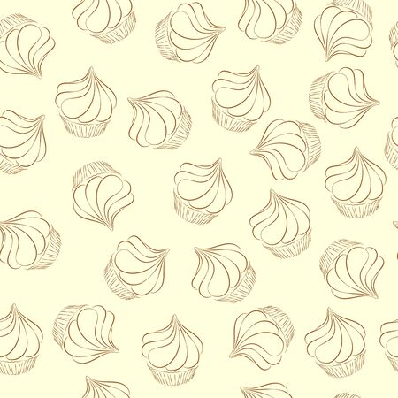 Hand drawn brown cupcake sketch on the beige background vector seamless pattern