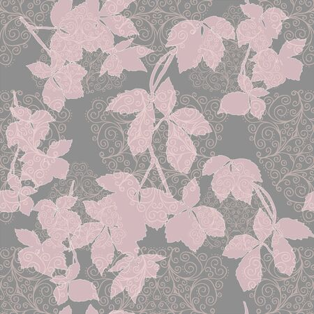 pink leaves and doodles on the grey background vector seamless pattern