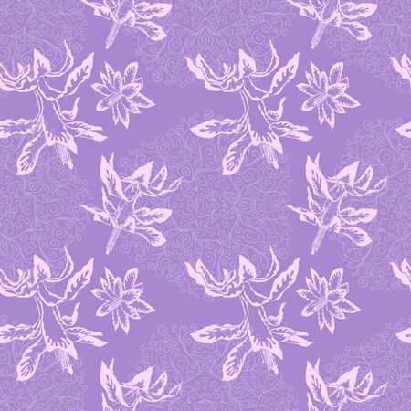 Pink blooming Christmas cactus flowers on the purple doodles background vector seamless pattern 向量圖像