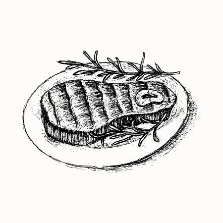 Grilled beef steak served with herbs hand drawn vector sketch isolated on the white background