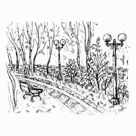 Riverside road landscape hand drawn vector sketch isolated on the white background Illustration
