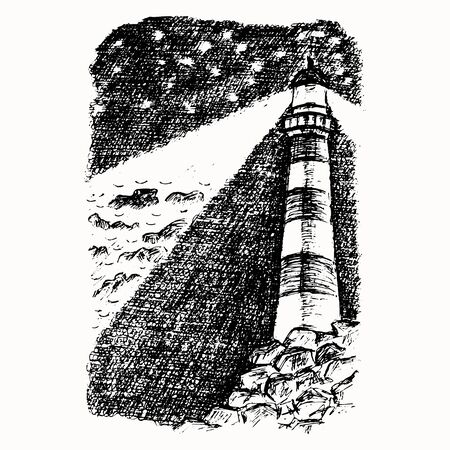 Lighthouse on the rocks hand drawn vector sketch isolated on the white background
