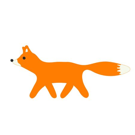 Cute cartoon walking fox in the forest vector icon isolated on the white background 向量圖像