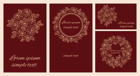 Set of vector wedding invitations, save the date, rsvp, thank you card template with beige outline roses wreath and place for text.  矢量图像
