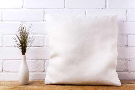 Square cotton pillow mockup with big bluestem wild grass. Rustic linen pillowcase mock up for design presentation 版權商用圖片