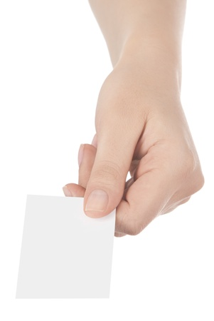 Business card in woman hand on white photo