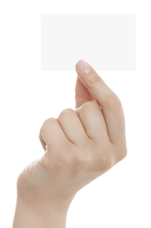 hands out: Business card in woman hand on white