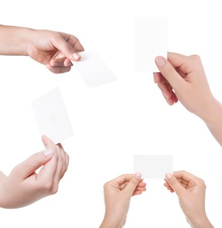 papier mache: Tarjeta de visita en mano de mujer en blanco apaisada