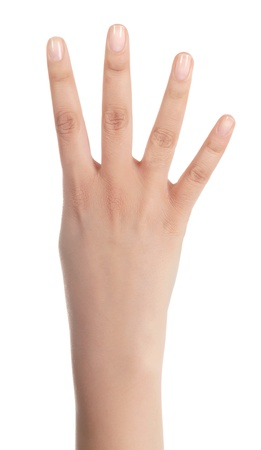 close up of a isolated palm with four fingers from a young woman on white background  photo