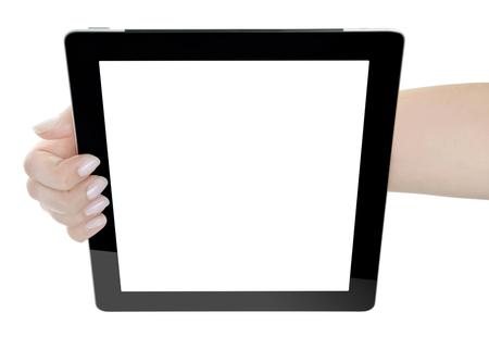 Hand Holding blank screen Digital Tablet  photo