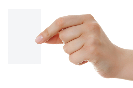 Business card in woman hand on white backround photo