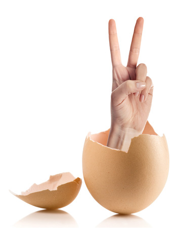 Hand with broken egg isolated on white backround Stock Photo
