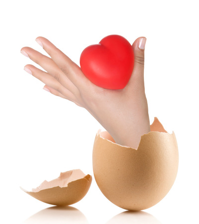 massage symbol: Hand with broken egg isolated on white backround. Heart in the hands Stock Photo