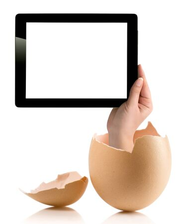 albumen: Hand holding a tablet computer with white screen. Hand with broken egg isolated on white backround. Hand holding tablet pc isolated on white background with blank screen.