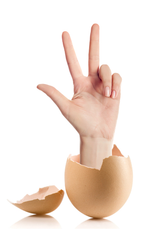 Hand with broken egg isolated on white backround.adult female hand holding three fingers in the air spread apart, (with clipping path)