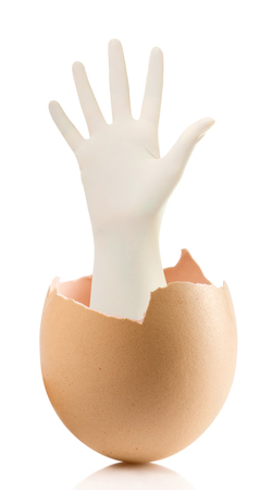 Hand with broken egg isolated on white backround.Hand with Surgical Gloves on white background medical concept