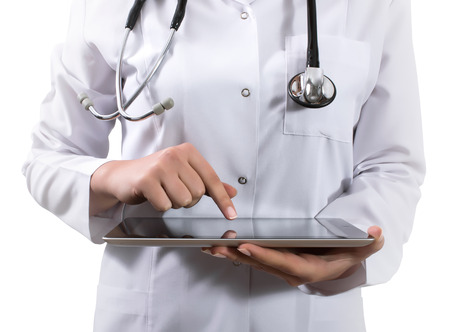 prescription pad: Hand holding a tablet computer with white screen. Woman hands showing empty screen of modern digital tablet. Hand holding tablet pc isolated on white background with blank screen.