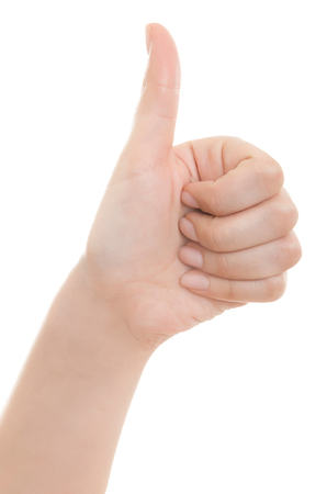 all ok: Female hand showing thumb up ok all right victory hand sign gesture. Gestures and signs. Body language on white background